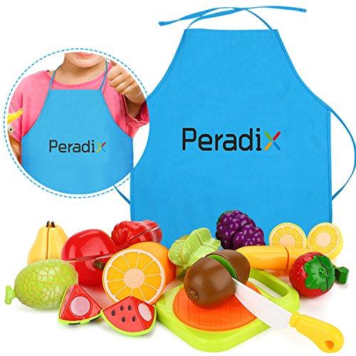 Peradix Juguetes Cortar Frutas Verduras Hamburquesa 14 piezas Juego de Plástico para Niños Juguetes Eeducativos Set de Alimentos de Corte Juguete del Bebé Sin Tóxico Juguetes Educativos (Frutas)