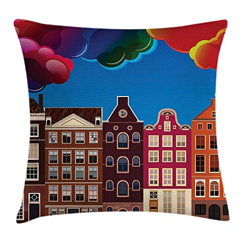 New pants Scenery Decor Throw Pillow Cushion Cover by, Cartoon Like European Cute Houses by The Lake with Big Various Baloons Print, Decorative Square Accent Pillow Case, 18 X 18 Inches