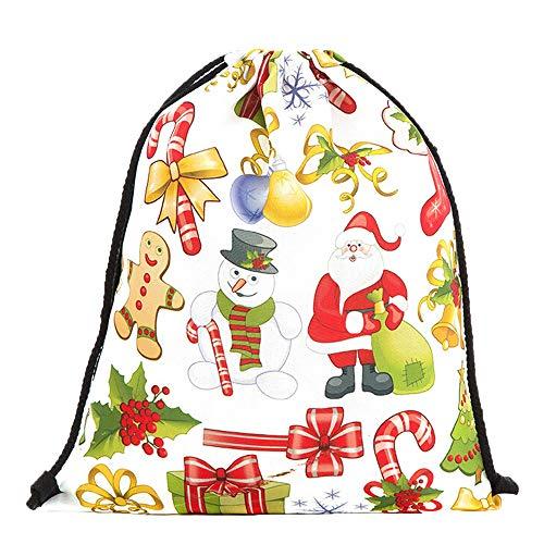 (Bedruckte Blumenstrauß-Tasche Weihnachtsrucksack Kordelzug Weihnachtsbeutel C, Malloom Aufbewahrungstasche Weihnachtsgeschenkbeutel Leinenrucksackbeutel Weihnachtskordelzugbeutel C)