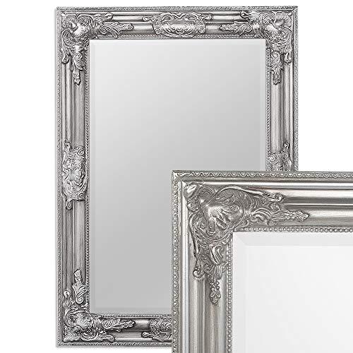 LEBENSwohnART Wandspiegel BESSA Silber antik 70x50cm barock pompös Spiegel Design Holzrahmen