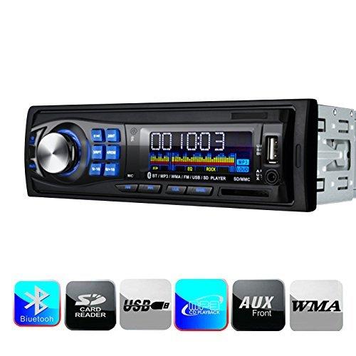 Masione Bluetooth Autoradios Stereo FM-Empfänger mit USB Anschluss & SD Kartenslot für MP3 und WMA + Verkürzte Einbautiefe + AUX IN + Single DIN (1 DIN) Standard Einbaugröße + inkl. Fernbedienung