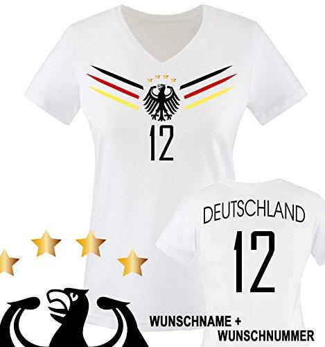 Comedy Shirts - Deutschland WM 2014-12 - Damen V-Neck T-Shirt - Weiss/Schwarz-Rot-Gelb Gr. M
