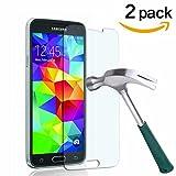 [2 Stück] CÄSAR-GLAS Panzerglas Schutzglas für Samsung Galaxy S5 / S5 Neo, Anti-Kratzen, Anti-Öl, Anti-Bläschen, 9H Echt Glas Panzerfolie Schutzfolie