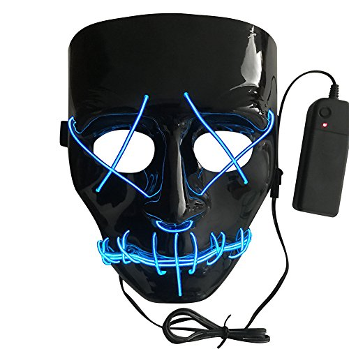 Preisvergleich Produktbild Scary Maske Halloween Cosplay LED Leuchten Maske el Draht leuchtenden Schädel Kostüm Maske für Halloween Cosplay Maskeraden Festival Parteien (Farbe zufällig)