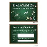 10 Einladungskarten DIN A6 zum Schulanfang Einschulung Schulstart 1.Schultag Schultüte und Tafel Kinder Schulkind ABC-Schütze
