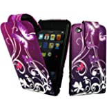 Magic Global Gadgets - New Stylish Purple Butterfly Magnetic Flip PU Leather Case Cover Pouch For Apple iPod Touch 4 4th Generation With Screen Guard & Stylus