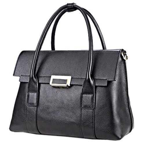 SAIERLONG Nouveau Femmes Noir Cuir De Qualité De Luxe Sacs à main Sacs portés épaule Noir
