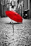 YongFoto 1,5x2,2m Vinile Sfondo Fotografico Ombrello rosso sulla strada Modernismo di città Fondale Foto Festa Bambini Boby Nozze Adulto Partito Studio Fotografico Puntelli
