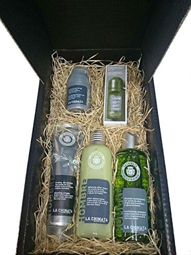 Lot d'ingredients Naturels pour hommes avec déodorant, crème rasage, gel Facial, après-rasage et Shampooing en boîte pour regalar