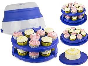 Express Trading® Boîte à gâteaux pliable à 2étages pour pour 24 cupcakes 30,5cm