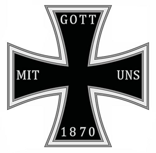 Etaia 10x10 cm Auto Aufkleber Gott mit Uns 1870 eisernes Kreuz Gösch deutsches Reich Sticker Motorrad Iron Cross -