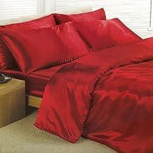 Satén Rojo Doble funda nórdica, sábana bajera y 4 fundas de cama