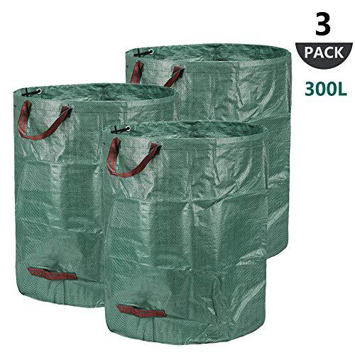 300l sacchi per i rifiuti da giardino, 3 pezzi sacchi da giardinaggio polipropilene (pp) 150gsm - robusto, antistrappo, idrorepellente riutilizzabile borsa da giardino