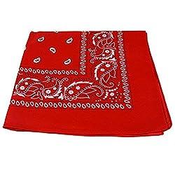 Bandana de color rojo y blanco, en ambos lados, Rojo, Pack de 2