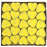 Outflower 50pcs romantique Cœur Lot Bulk Bougies Flottantes sans fumée Bougies Bougies de mariage, jaune, 3.7cm*1cm
