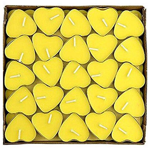 Leisial 50pcs Pequeña Vela de Cumpleaños Vela en Forma de Corazón Velas de Té Flotantes Sin Humo Romántica Día de San Valentín Boda para Decoración,Amarillo