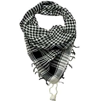 Desert Scarf Black and White Lovarzi - Shemagh Mens and Womens Scarves - Scarfs for Men and Women