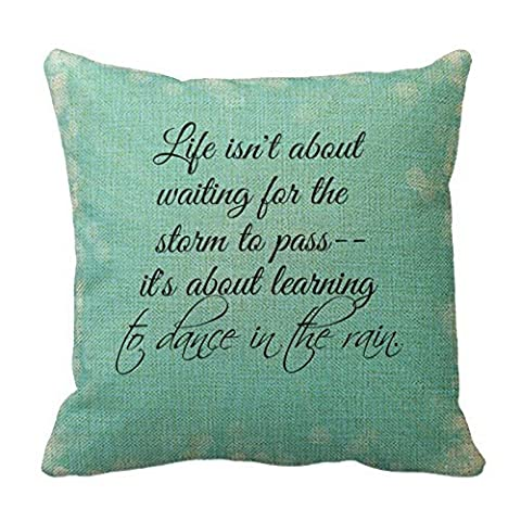 Romantichouse Cotton Linen Square Decorative Learning To Dance In The Rain Quote Throw Pillowcases