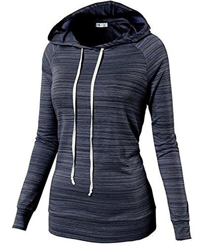 AILIENT Femme Sweats à Capuche Mode Classique à Manches Longues Rayé Encapuchonné Sweatshirt Vintage Hooded Pullover Tops blue