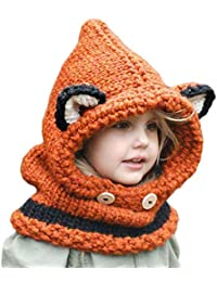09c79b2b85e Azornic Baby Girls Boys Winter Hat Scarf Earflap Hood Scarves Caps for 2-8  Years