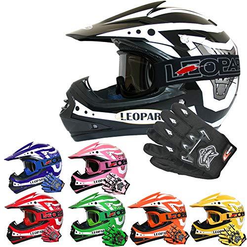 Leopard LEO-X17 *ECE 2205 Genehmigt* Kinder Motocross MX Helm Motorradhelm Crosshelm Kinderquad Off Road Enduro Sport + Handschuhe + Brille - Schwarz L (53-54cm)