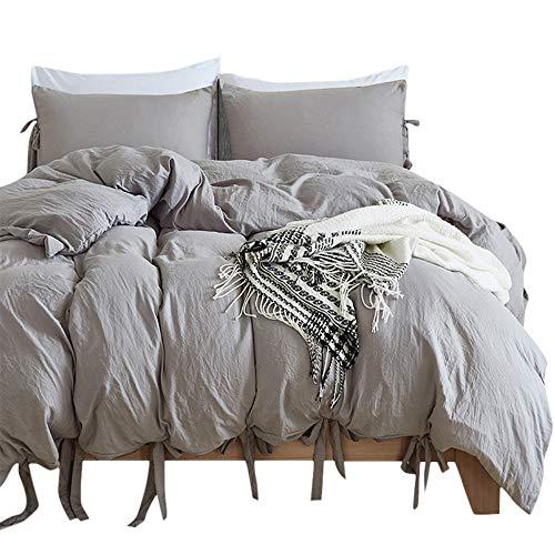 BullStar Natur Bettbezug Queen/King/Twin Gewaschen Baumwolle Bettbezug Set Ultra Weich Atmungsaktiv Bettwäsche Queen Grau - Bettbezug Queen Natur