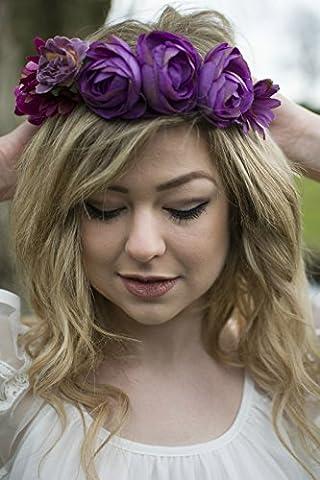 Violet rose vif Rose Couronne de cheveux Fleur Marguerite Guirlande vintage Bandeau Feuille V77* exclusivement Vendu par Starcrossed Beauty