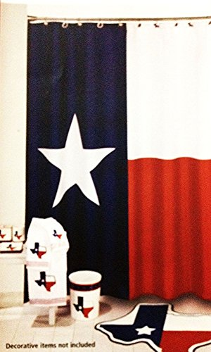 Decor, Texas Flagge Lone Star Stoff Vorhang für die Dusche, Textil, multi, 48x72 ()