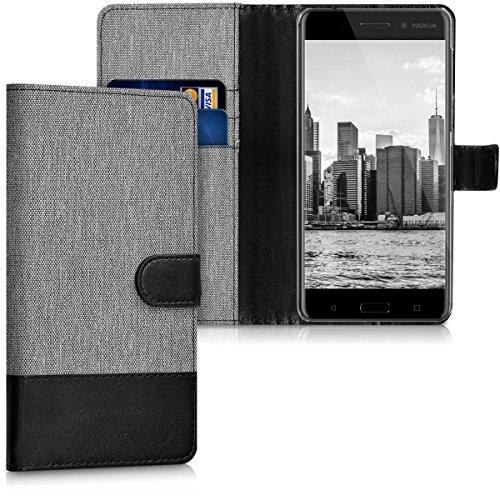 kwmobile Hülle für Nokia 6 (2017) - Wallet Case Handy Schutzhülle Kunstleder - Handycover Klapphülle mit Kartenfach und Ständer Grau Schwarz