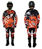 Tenue Enfant 7-8 Ans Moto Cross Quad VTT BMX MTB Pantalon Gants Maillot Orange JLP RACING Taille 24 US/L