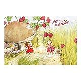 Kinderzimmer Tapeten - Vliestapeten Premium - Erdbeerinchen Erdbeerfee - Unter dem Himbeerstrauch - Fototapete Breit Vlies Tapete Wandtapete Wandbild Foto 3D Fototapete, Größe HxB: 190cm x 288cm