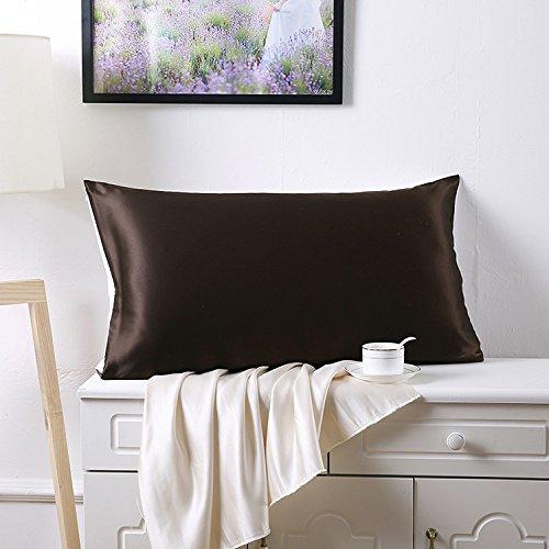 Juwenin - Juego de dos fundas almohada de seda satinada para el cuidado de la cara y el pelo, tamaño...