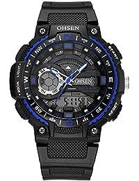 reloj luminoso manos esqueléticas brújula analógico-digital multifuncional de dise?o del adolescente deporte al aire libre