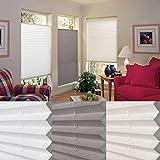 SHINY HOME® Easyfix Plissee Faltrollo Jalousien Plisseeroll mit Klemmfix Klemmträger für Fenster Tür mit Klemmträger ohne Bohren Fensterrollo | 60x130cm | Weiß