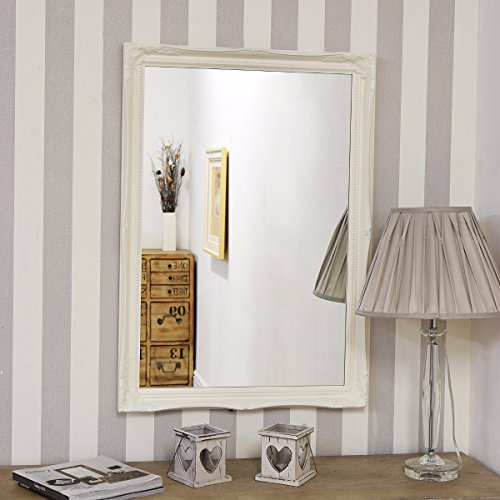Large White Overmantle / Wall Mirror with Ornate 2 Wide Frame ...