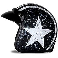 Leder Helmet Motorrad-Helm Jet-Helm Scooter-Helm Vespa-Helm Halbhelme Motorrad Helm Flat Braun Woljay 3//4 Offener Sturzhelm XXL