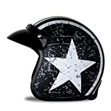 Woljay 3/4 Offener Sturzhelm, Helmet Motorrad-Helm Jet-Helm Scooter-Helm Vespa-Helm Halbhelme Motorrad Helm Flat mit Rebellen Star Graphic Schwarz Weiß (S)