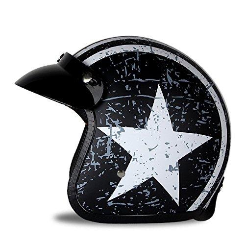 Preisvergleich Produktbild Woljay 3/4 Offener Sturzhelm, Helmet Motorrad-Helm Jet-Helm Scooter-Helm Vespa-Helm Halbhelme Motorrad Helm Flat mit Rebellen Star Graphic Schwarz Weiß (M)