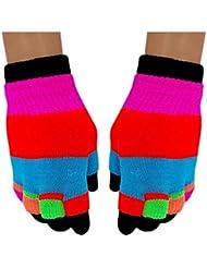 Neon Regenbogen 2 in 1 Handschuhe für Teens