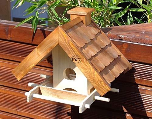 """Vogelhaus + XXL- FUTTERSILO,K-VOWA3-dbraun001 NEU Vogelhäuschen PREMIUM-Qualität,Vogelhaus,""""MEGASILO"""" KOMPLETT mit Futtersilo + SICHTGLAS für Vorrat PREMIUM-Qualität,Vogelhaus,- ideal zur WANDBESTIGUNG – Futterhaus, Futterhäuschen, Qualität Schreinerware 100% Massivholz – VOGELFUTTERHAUS MIT FUTTERSCHACHT-Futtersilo Futterstation Farbe braun dunkelbraun schokobraun rustikal klassisch, Ausführung Naturholz MIT TIEFEM WETTERSCHUTZ-DACH für trockenes Futter - 5"""