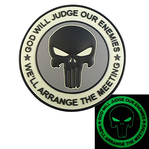 ACU GOD WILL JUDGE OUR ENEMIES Glow Dark Punisher DEVGRU Navy Seals PVC Hook-and-Loop Aufnäher Patch -