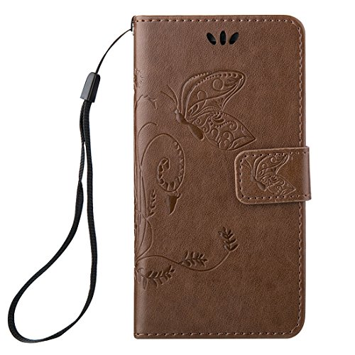 Wkae Case Cover Für iPhone 6 &6s Crazy Horse Texture Druck Horizontal-Schlag-Leder-Kasten mit Halter &Card Slots &Wallet &Lanyard ( Color : White ) Brown
