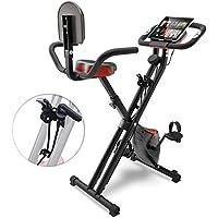 Sportstech F-Bike X100 & X150-4in1 Heimtrainer - X Bike - Einzigartiges Zugbandsystem - Handpulssensoren - Ergometer - Hometrainer - Faltbares Fitness-Fahrrad - Tablethalterung Rückenlehne klappbar