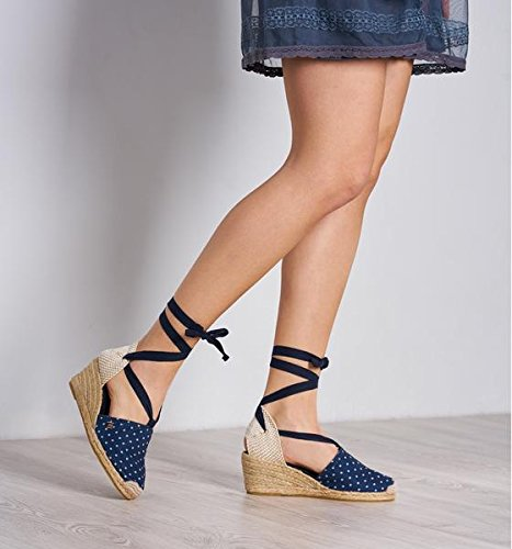 VISCATA Escala 2.5 Heel, Soft Ankle-Tie, Closed Toe, Classic Espadrilles Heel Made in Spain Bleu