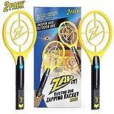 ZAP IT! Paquet de Deux Bug Zapper - Rechargeable Mosquito, Tapette/Killer et Bug Zapper Raquette - 4 000 Volt Chargement USB, Ultra Lumineux Lumière LED pour Zap dans Le Noir