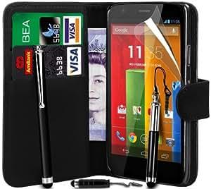 R & A International Motorola Moto G Black Premium PU Leather Wallet Case Cover, Screen Protector, Large Stylus Pen, Mini Stylus Pen & Retractable Stylus Pen