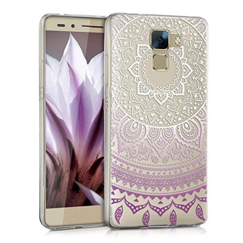 kwmobile Huawei Honor 7 / Honor 7 Premium Hülle - Handyhülle für Huawei Honor 7 / Honor 7 Premium - Handy Case in Violett Weiß Transparent