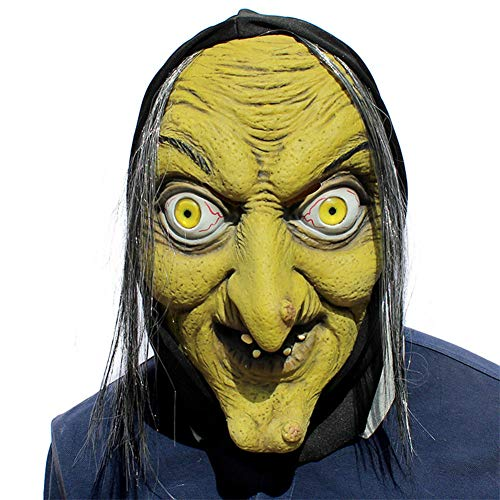 CGBF-Halloween Maske Horror Hexe Maske Scary Neuheit Deluxe Halloween Kostüm Party Latex Kopfbedeckung Alte Hexe Maske Creepy Prom Bar Party Performance Requisiten (Alte Kostüm Meme)