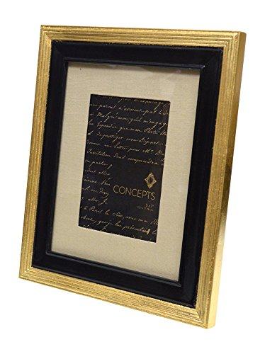 Unbekannt Concepts Gold und Schwarz Holz Bilderrahmen 20,3x 25,4cm Passepartout bis 12,7x 17,8cm doppelte Bordüre Leinen matt -