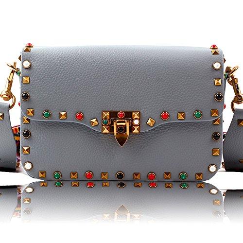 Macton Frau Rivet Leder lässig Schultertasche Messenger Bag Europa MC-5019 (hellblau) (Logo Gucci Handtaschen)